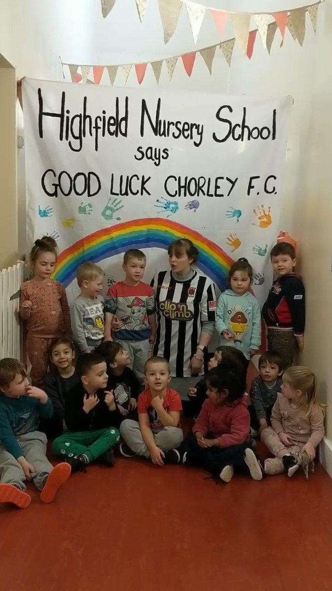 My Wife is assistant headteacher at Highfield Nursery School in Chorley and they've made a video for @chorleyfc tommorow along with this banner for the ground :) Banner in second part of post @ben_kay8 @chorleyfc