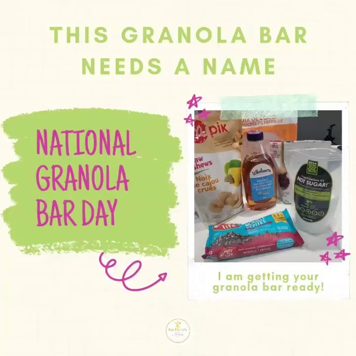 It's National Granola Bar Day 😊🤓 Eat For Lifers, please give this #granola bar a name 😅😊  Back to getting this #recipe completed. Cheers!   #eatforlifebymarsha #glutenfree #dairyfree #nationalgranolabarday #snack #healthysnacks #vegansnack #easyrecipe #snackattack