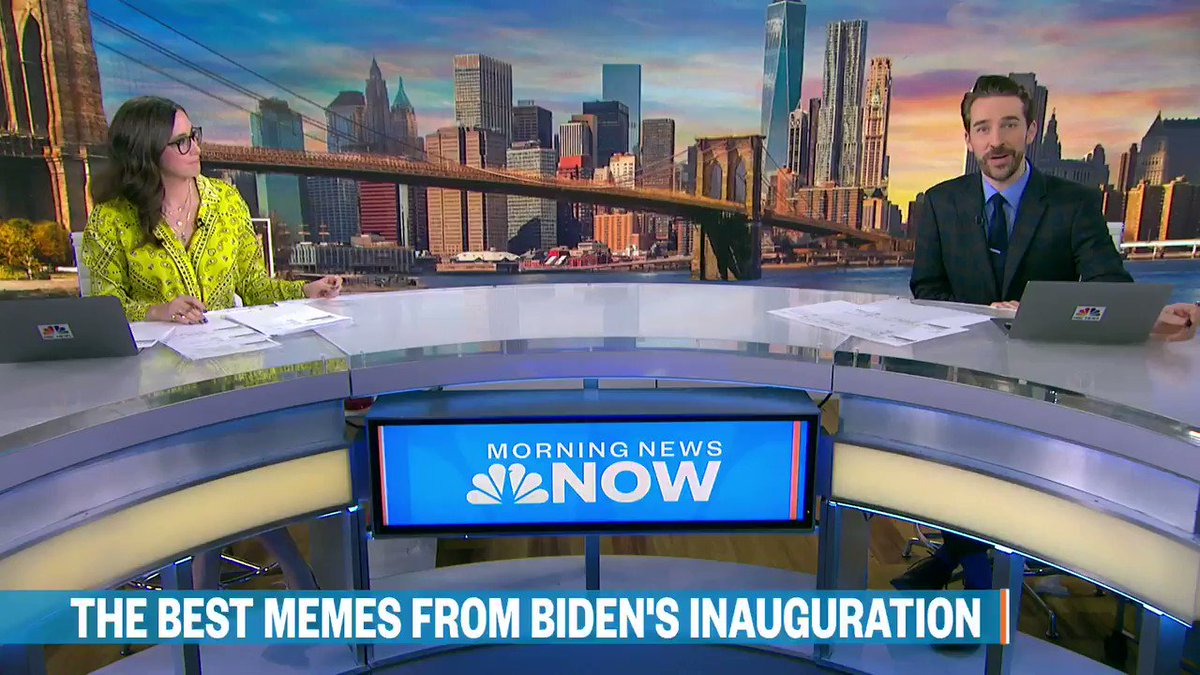 """Even one day later, the Bernie memes are making us laugh. We revisited a few favs this morning on """"Morning News NOW"""" on @NBCNewsNow... and @WatchSavannah recalled her 2017 interview w/ President Biden on the subject of memes. #BernieSanders #BernieMittens"""