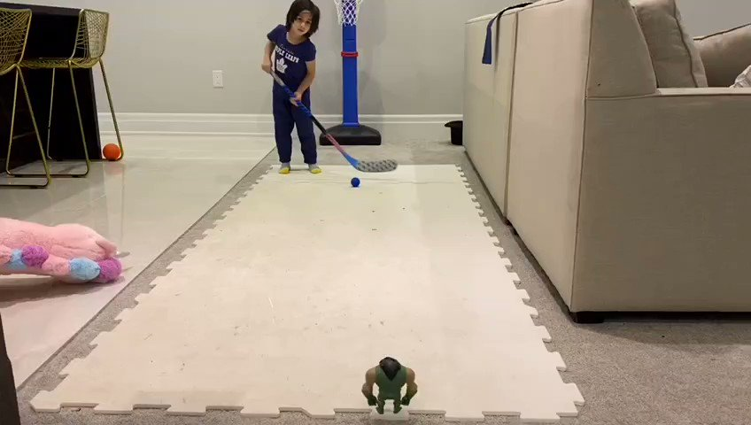 Deccan pulled off this shot today....was so fast you might even miss it..so we slowed it down..yes he is only 4 years old and yes he was diagnosed with muscular dystrophy..... we will keep playing and we will get to a cure 😍 #LeafsForever #NHLFaceOff @CoachsCornerDC @NHL
