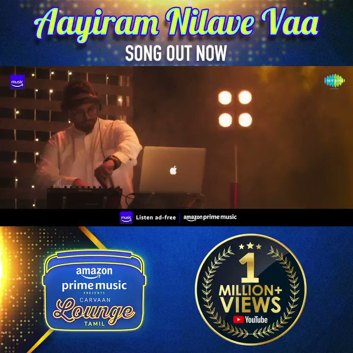 Crossed a million views! Thank you :)   …   #AayiramNilaveVaa recreated by @CSathyaOfficial, sung by @soorajslive and myself!   #FirstOn @AmazonMusicIN   #CarvaanLoungeOnAmazonMusic #CarvaanLoungeTamil @saregamasouth