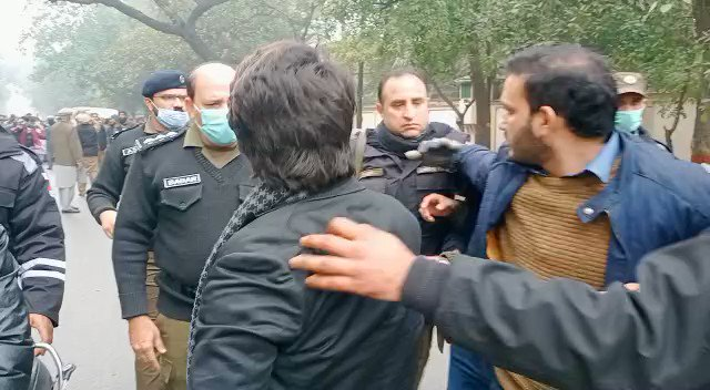 SHO Babar who is posted at Racecourse station along with the police used violence against peaceful students and our comrades who were protesting against on-campus exams. The double face of govt. is once again exposed today which protects convicted terrorists but uses violence
