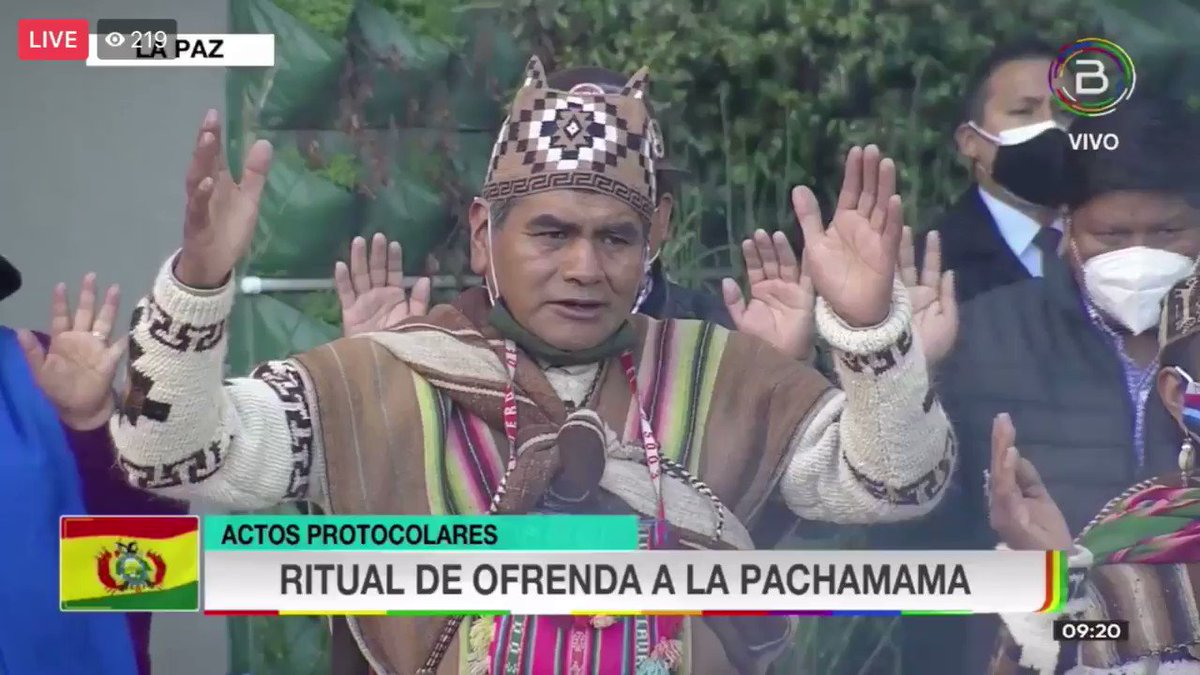 An offering ritual to the Pachamama takes place at the Casa Grande Del Pueblo on Day of the Plurnational State, honoring leaders and martyrs of the liberation of peoples, including indigenous leader Felipe El Mallku Quispe who transcended this week.