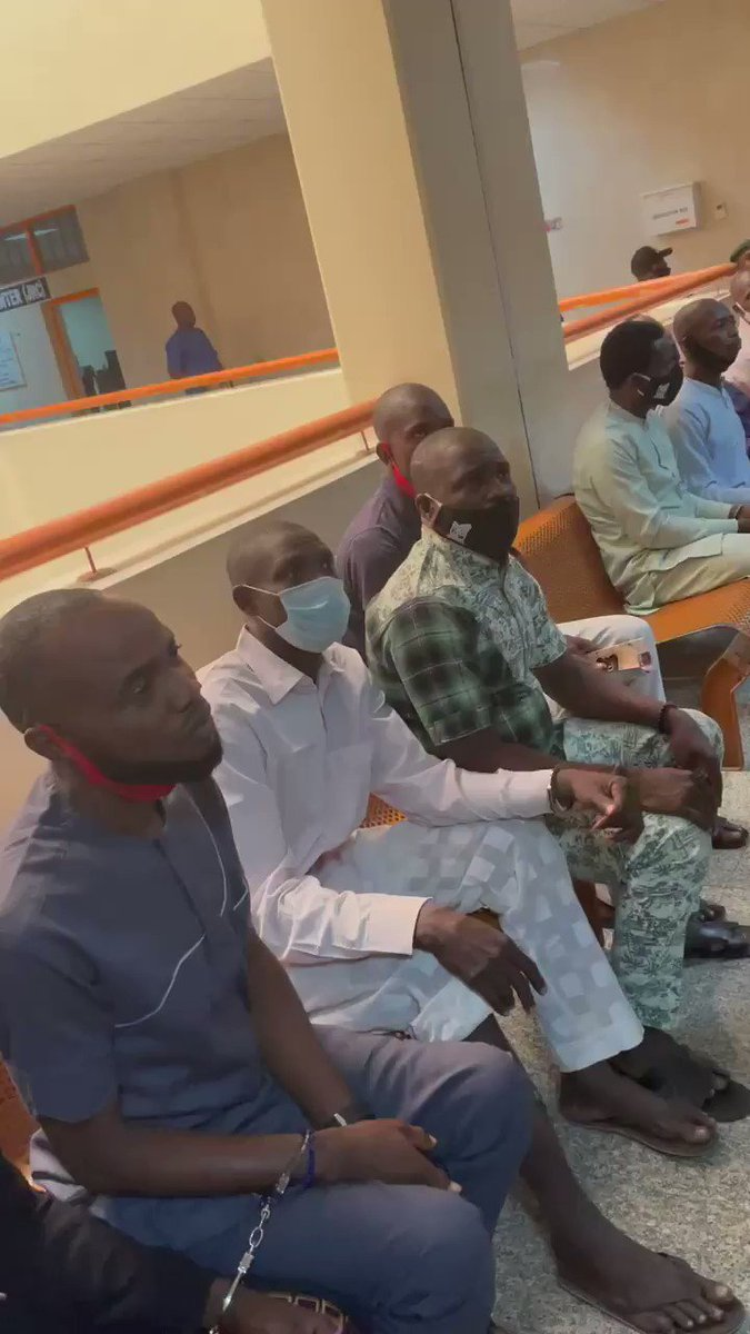 SARS operatives of @PoliceNG tortured these guys at Abattoir Police detention center in Abuja, used pliers to remove their  fingers and shit them at close range before charging them to court and having them burden with false trial for 7 years.