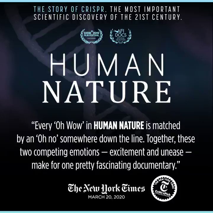 Make plans to watch this weekend on @netflix:  #crispr #HumanNatureFilm @DanRather