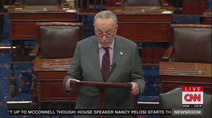 "Chuck Schumer: ""Senators will have to decide if they believe Donald John Trump incited the erection.""  Freudian slip?"