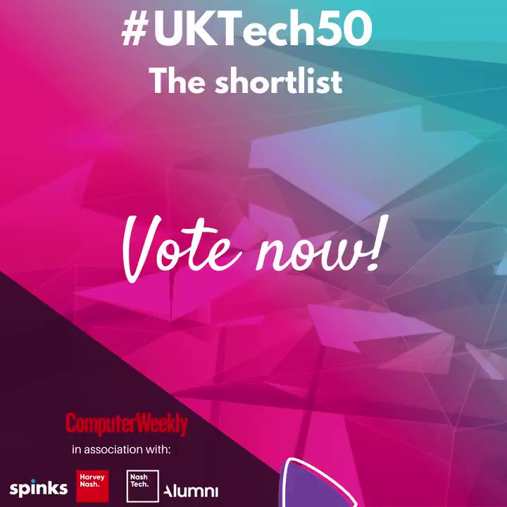 Our friends at @ComputerWeekly have published the UKtech50 shortlist, for the most influential person in UK tech 2021. Vote now for the person who you think deserves the top spot!   #tech #uk #techleaders #vote