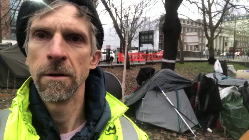 @Hs2Rebellion #activist Larch poses a good question from #StopHS2 Euston protection camp, 'Why is @HS2ltd allow to carry on work destroying England valuable Environment why the normal person has to stay at home? @BorisJohnson @XRebellionUK @XRLondon #ExtinctionRebellion #Actnow
