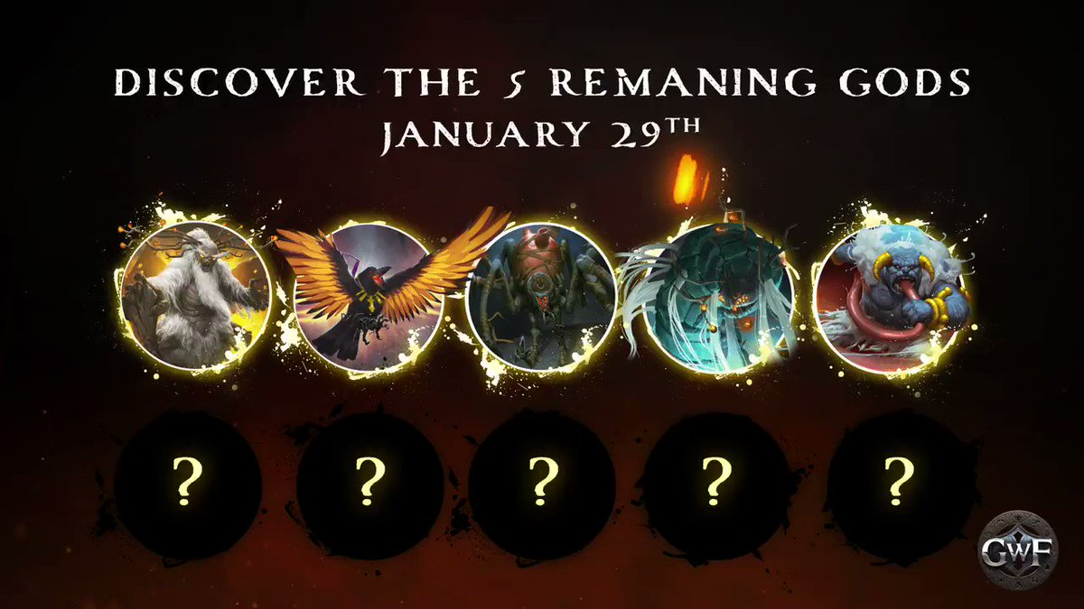 Belenos, Morrigan, Osseus, Krannus, and Ogmios - the first five mighty gods to be revealed.  Another 5 are yet to be discovered (another 8 if you include the DLCs dropping later!)  #GWF #GodsWillFall #GodSlayers
