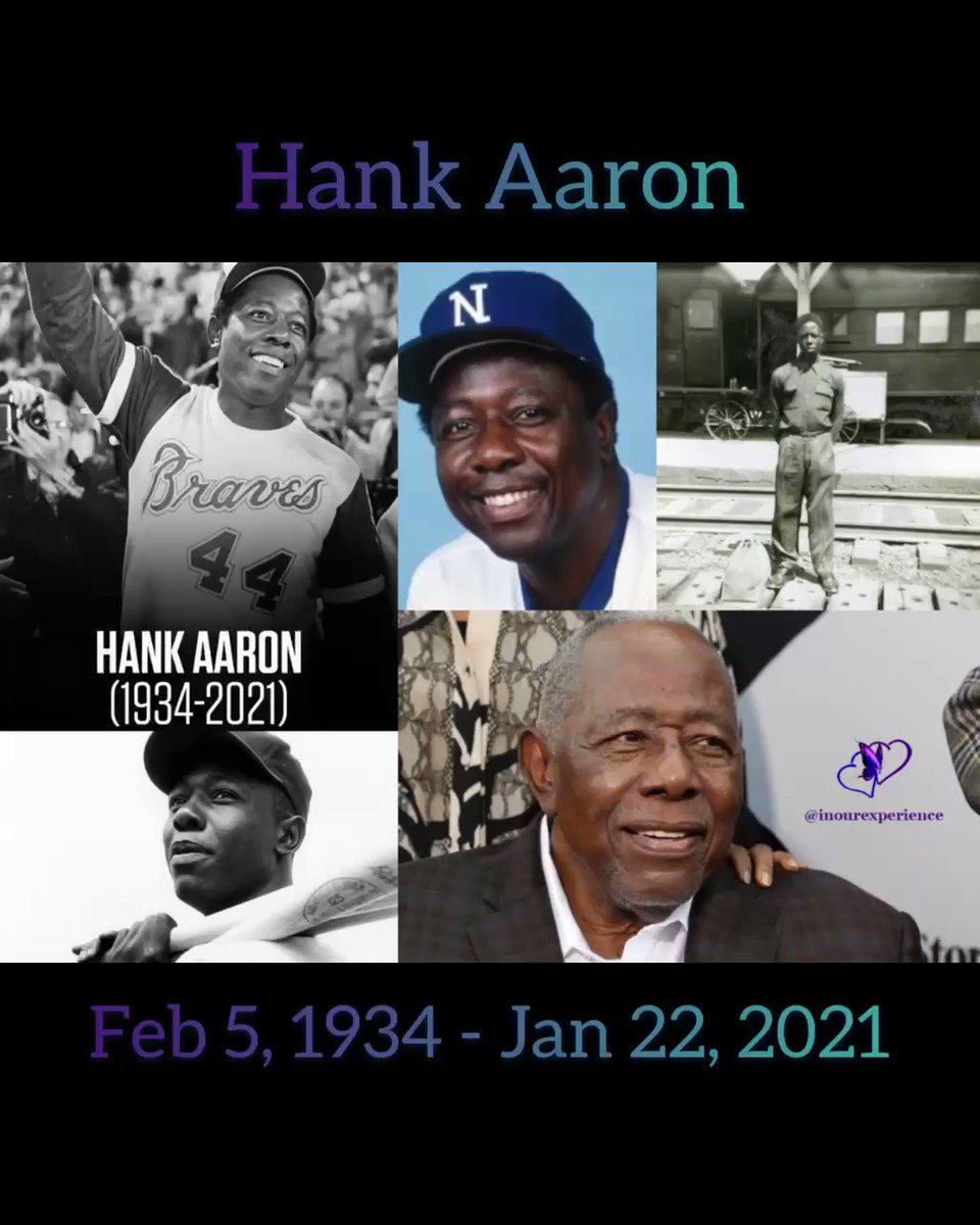 #Rip to Baseball #Legend and HomeRun 👑 #HankAaron. Our condolences to his family and friends.🙏🏾💜🦋