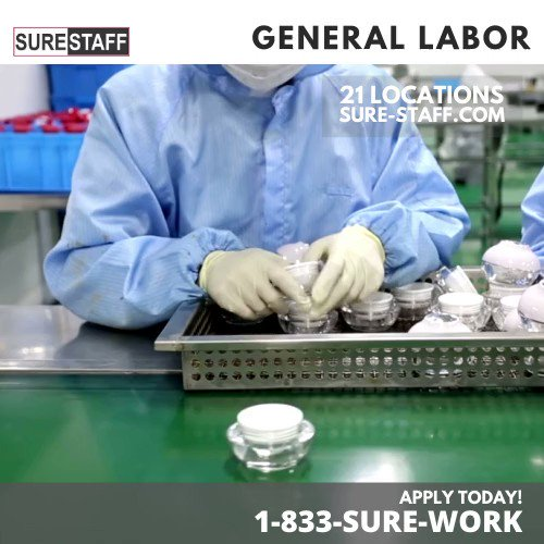 SURESTAFF is Hiring! 21 Locations in Illinois, Indiana and Wisconsin Call 1-833-SURE-WORK or 833-787-3967 -    Light Industrial Labor  #indiana #wisconsin #surestaff #staffing #employment #tempwork  #work #jobs #chicago #illinois #chicagojobs #manufacturing