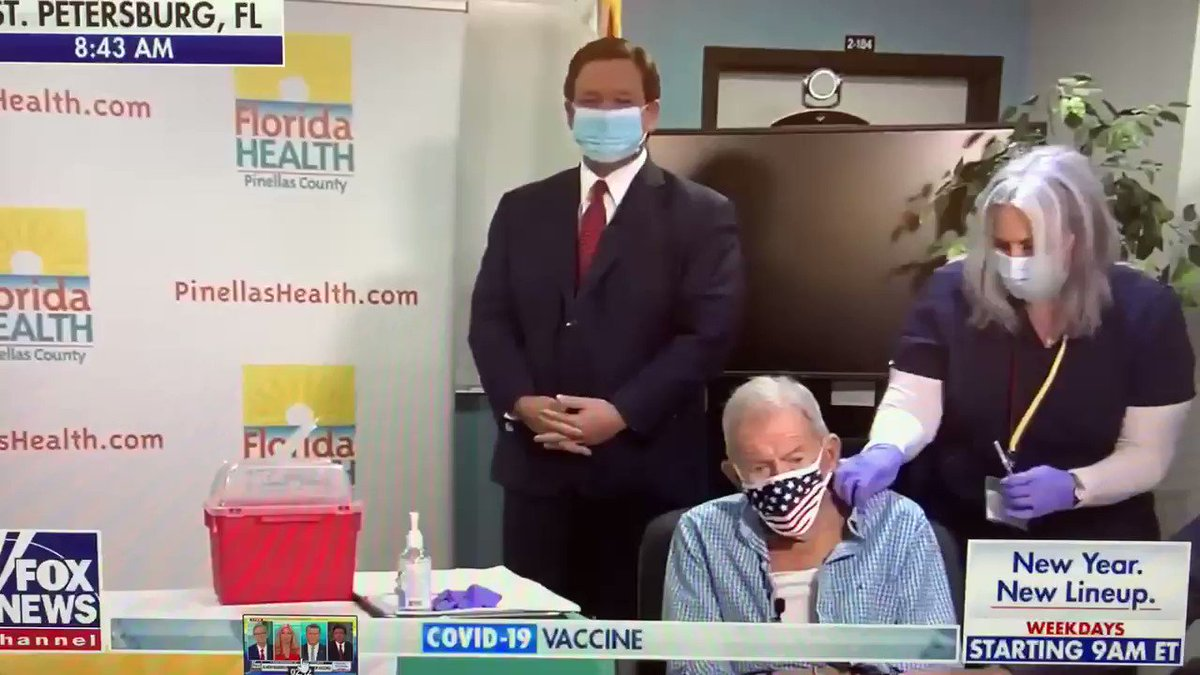 Florida Governor Ron DeSantis bragged on FOX today that this man was the 1 millionth senior in state to get vaccine. That was a lie. The state has reported 840,000 seniors in Florida have received first shot.