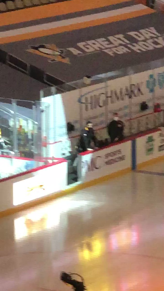 """The rookie """"leads"""" the Pens onto the ice for warm-ups 😂! -DP"""