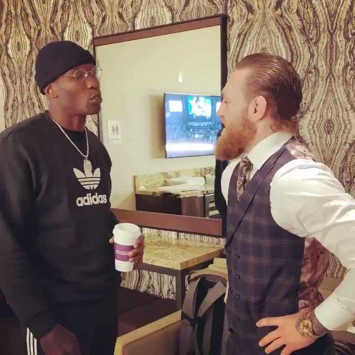 Pepe & @TheNotoriousMMA before his last fight, who y'all got tonight❓