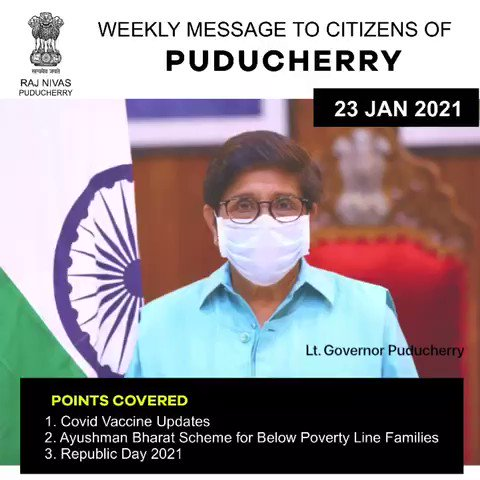Message of the week.. *On #COVIDVaccination,  *Insurance cover by PM flagship program of #AyushmannBharat providing cashless Health Cover for all Below Poverty Line Families in all four regions of #Puducherry #RepublicDay greetings.