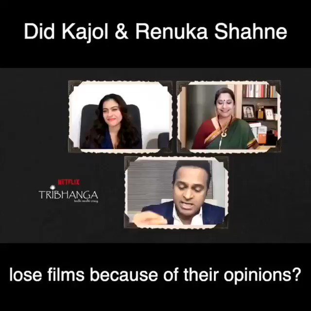 This is what @itsKajolD & @renukash have to say about losing films!   Catch this fun conversation exclusively on my @youtubeindia channel:   #SidK #Tribhanga @ajaydevgn @ADFFilms @NetflixIndia