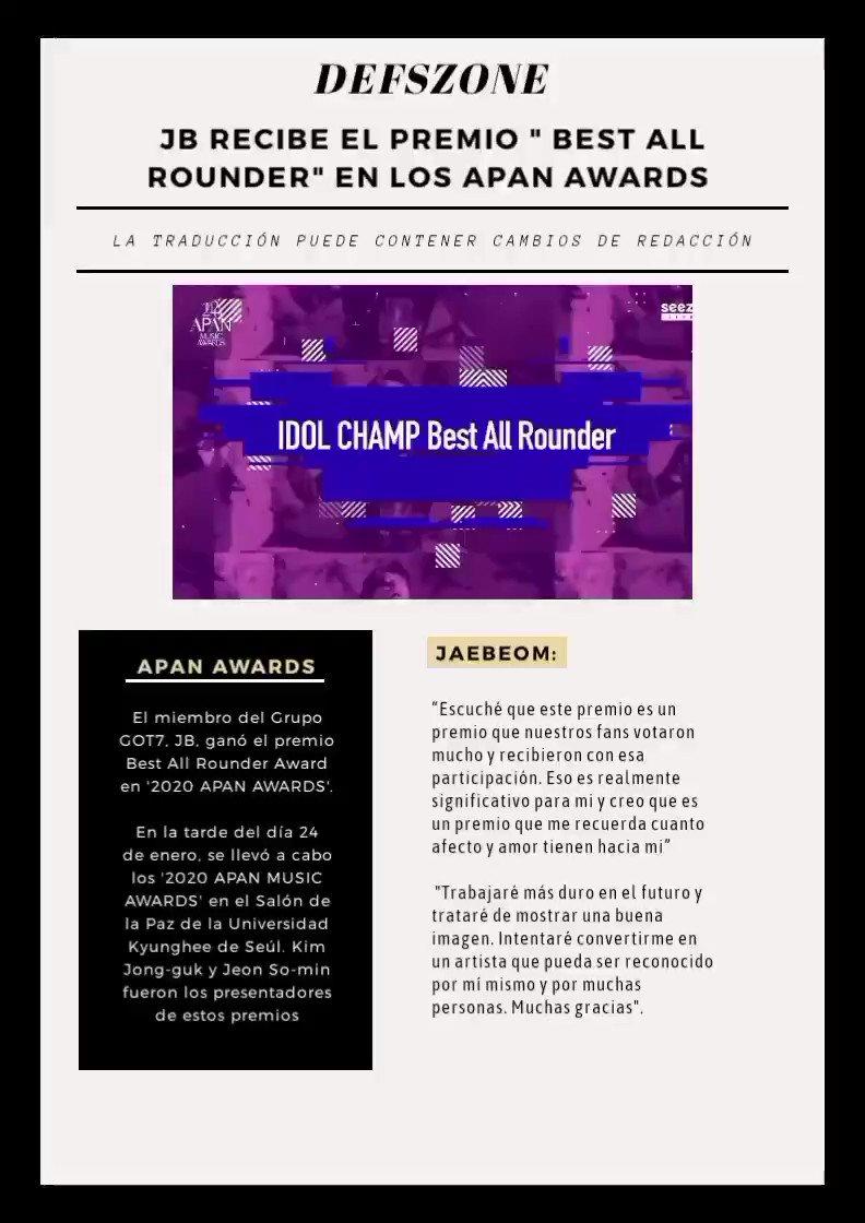 "—"" @JAYBDEF___ recibe el premio     BEST ALL ROUNDER en los APAN"".  🔗  #GOT7TopArtist #BestAllRounderJAYBDef"