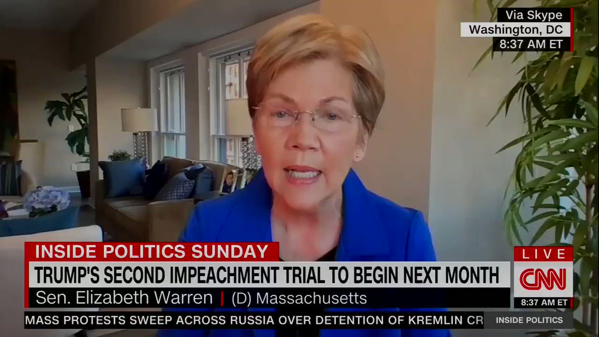 """Sen. Elizabeth Warren (D-MA): """"We need accountability, accountability for Donald Trump, and accountability for everyone who participated in that insurrection.""""   About """"unity,"""" Warren says, """"Let me start with, how about if we're unified against insurrection?"""""""