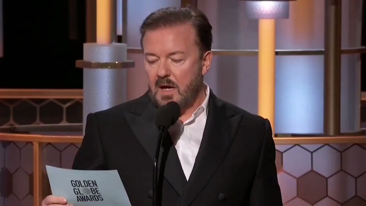 😳😳😱😂😂 Fuck sakes. That's one way getting permanently removed from the Golden Globes 😂😂 #rickygervais