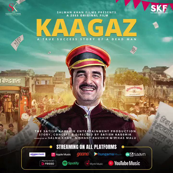 #Kaagaz album is now streaming across all streaming platforms. Tune in now! #ProofHaiKya    @tripathiipankaj @satishkaushik2 @gajjarmonal @TheAmarUpadhyay @Nishantkaushikk #MitaVashisht @ZeeStudios_ @ZEE5Premium @profanesoul #VikasMalu @anksumads