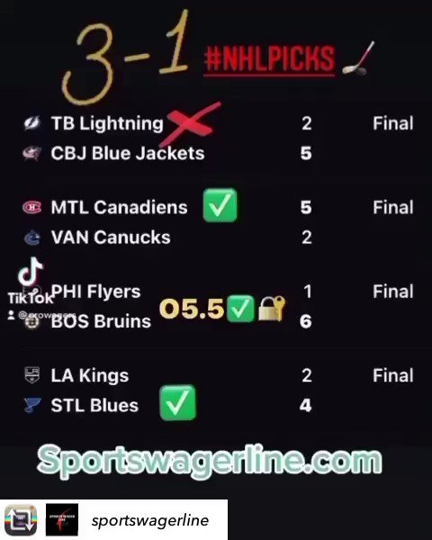 THE BEST‼️ #NHLPICKS CAPPER IN THE WORLD 🌎 WINNING ANOTHER 3-1 NIGHT FOR CLIENTS.  OUR NHL 🏒 KEEPS ROLLING WITH PROFITS ON A 29-15 RECORD . JOIN US FOR DAILY ALL ACCESS PASS FOR $27.99 or $99 WEEKLY RATES.   🔐 . #winningpicks #bettingexpert #bettingtips