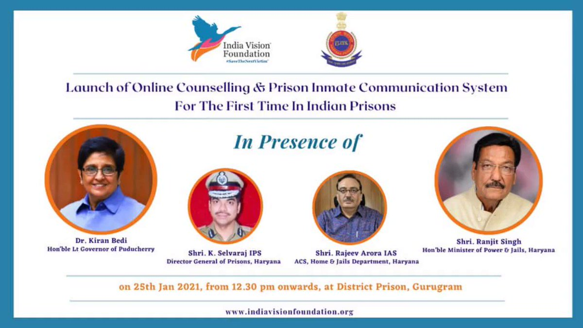 An @IVFoundation initiative in collaboration with Government of Haryana Ministry of Home Affairs, and Professional Expertise in the Community,for prisons across the country where such a system is needed.Thank all collaborators. @BPRDIndia @DgPrisons @cmohry @RajeevArora87 @ANI