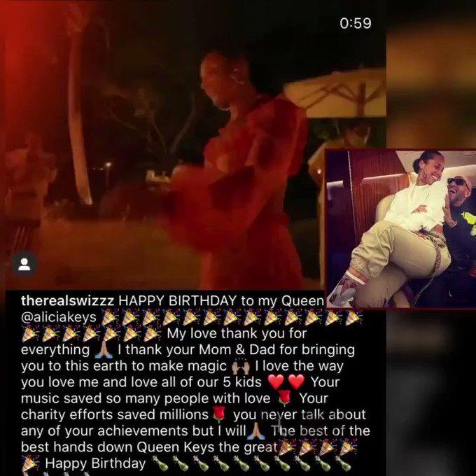 Swizz Beatz wishes his Queen, Alicia Keys a happy 40th birthday