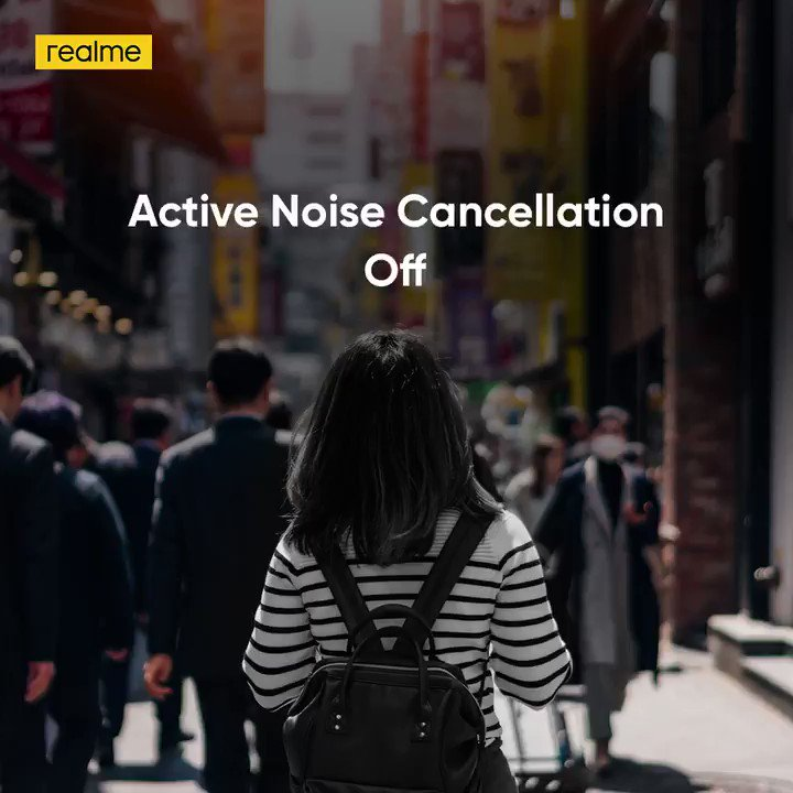 No matter where you are, feel free to #TuneOutTheNoise with the #realmeBudsAirPro featuring ANC upto 35dB.