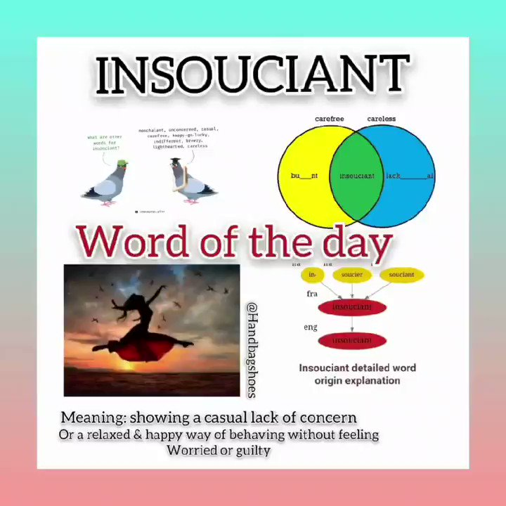 Lets learn a new word or revisit an old word each day. #WordOfTheDay  #insoucient #MondayMotivation #newwordtoday #handbagshoes1 #mondaythoughts #mondayword #newword