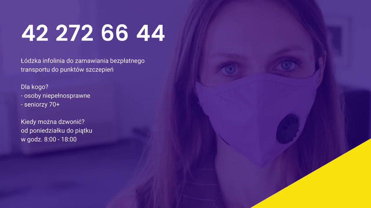 💉 Uruchomiliśmy w Łodzi specjalną infolinię (☎️ 42 272 66 44) do zamawiania bezpłatnego transportu do punktów szczepień dla osób niepełnosprawnych ♿️ i seniorów 70+ 👵👴 Szczegóły:  ➡️ PODAJ DALEJ #Łódź #SzczepimySię #infolinia