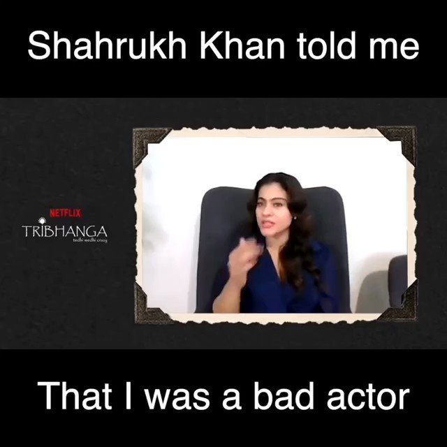 .@iamsrk told me that I was a bad actor: @itsKajolD  Catch the full video on my @YouTubeIndia channel:  Don't forget to like, share and sub!!  #SidK #Kajoldevgan #ShahRukhKhan #tribhanga @NetflixIndia @ADFFilms @ajaydevgn