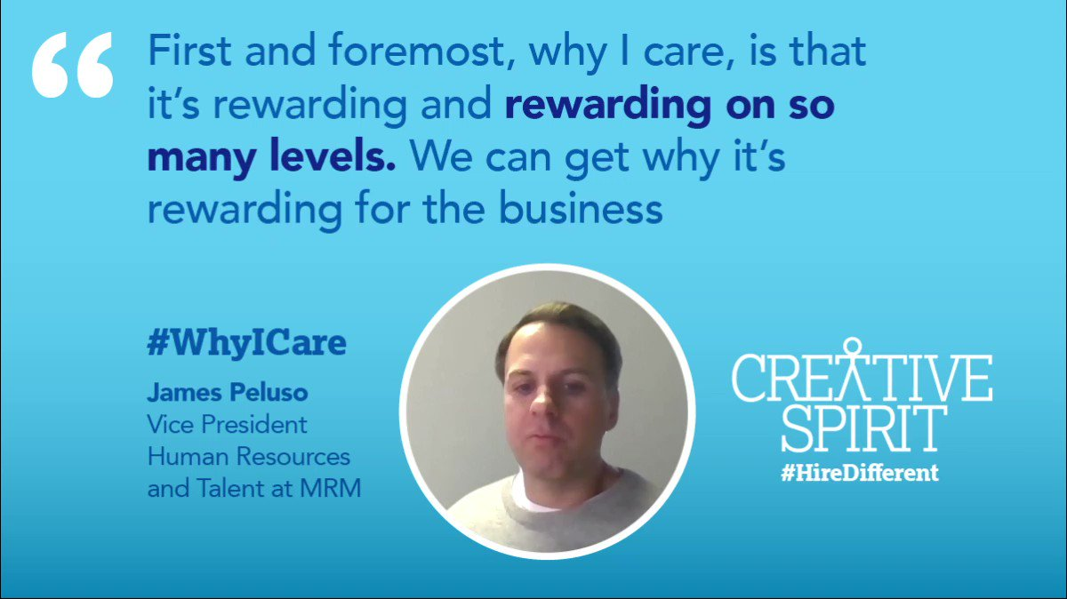 Creative Spirit has interviewed James Peluso, @TwitPresence, @Global_MRM's #VP #HumanResources and #Talent, to hear his perspective why fighting for #disability #inclusion is essential. Watch the full interview here: .  #HireDifferent #WhyICare #SoundOn