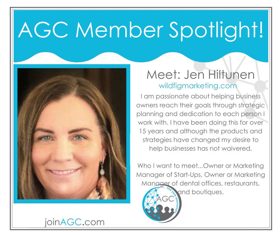 Meet our #AGC member #Jen Hiltunen!💡 Jen Hiltunen is a Vice President of Sales at #Wild Fig Marketing.  He is passionate about helping #business owners reach their #goals through #strategic planning and dedication to each person she works with.   Be sure to say hello to Jen.💗