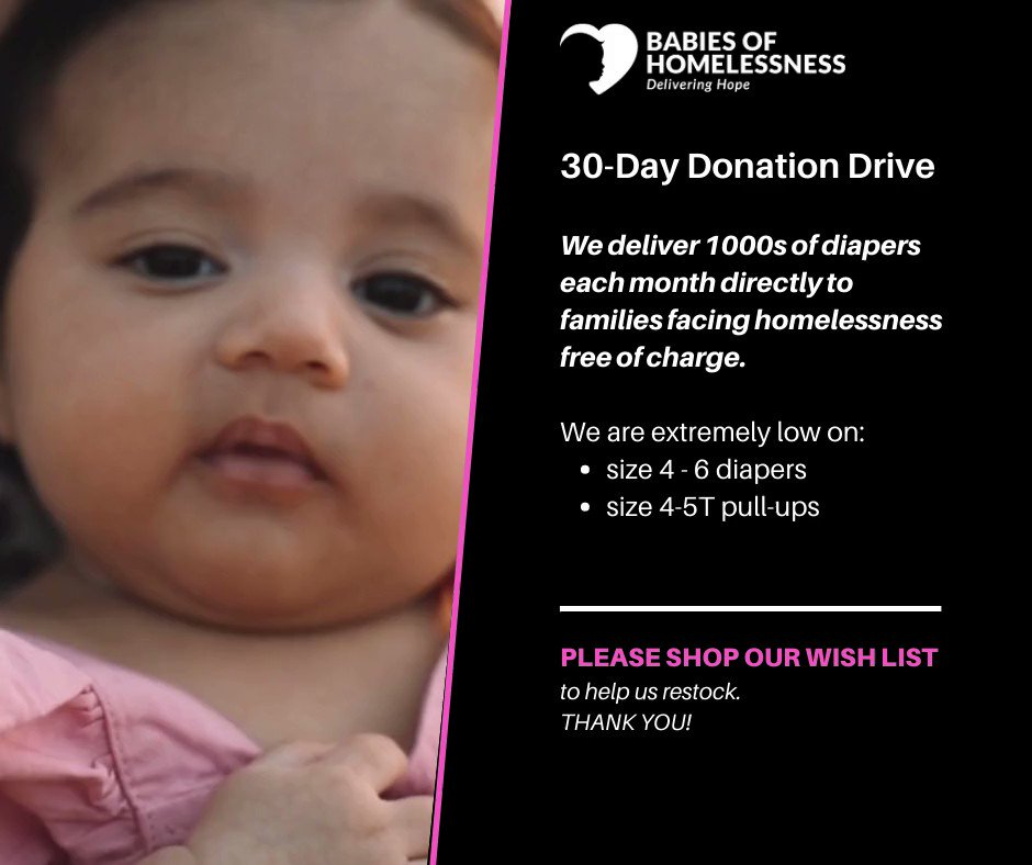 30-Day Donation Drive is on now! Our stock of #basicneeds is low and we need 1000s of diapers each month to meet the needs of local families. Please shop our Amazon Wish List. All donations go directly to children in #KingCounty #SnoCo  🍼 🍼
