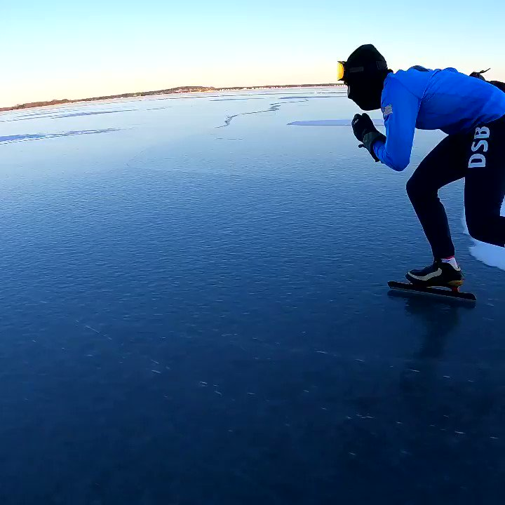 Sunset cruise with Brent out on Lake Mendota last weekend #cruising #sunset #lakeskating #speedskating #wildice #discoverwisconsin #schaatsen