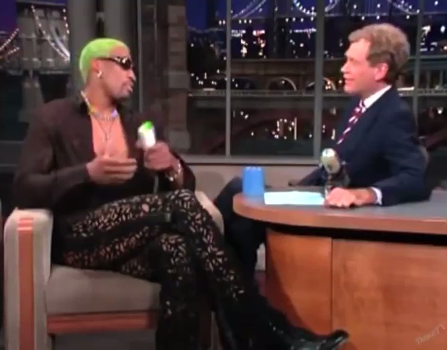 Dennis Rodman dying Letterman's hair is late night gold . . . #dennisrodman #davidletterman #thelateshow #nba #tv #basketball #rodman #green #hairdye #dyi #style #fyp #instagood