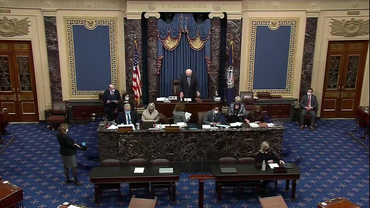 JUST IN: U.S. Senators sworn in for impeachment trial against former President Trump.