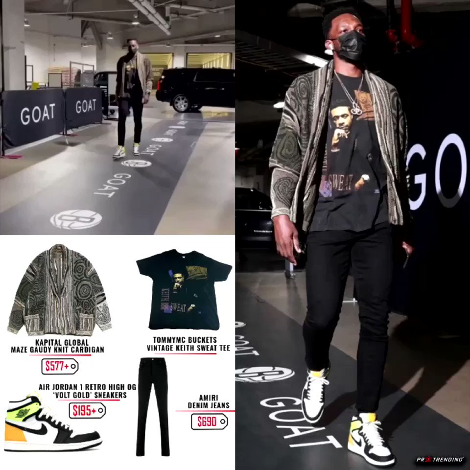 Walking into the #Nets x #Heat game last night @unclejeffgreen styles in #KapitalGlobal cardigan, #Tommymcbuckets vintage tee, #Amiri denim jeans, & @Jumpman23 #AirJordan1 sneakers. 🏀‼️ #stylelikeapro #NBATwitter
