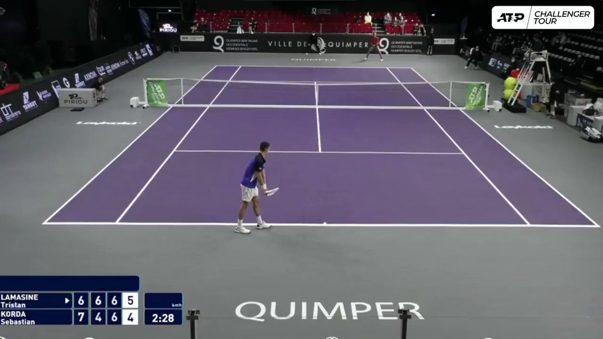 Just filthy, @SebiKorda 💪  The 🇺🇸 saves a MP, striking a pair of CLUTCH lobs to rally from 1/5 down in the deciding tie-break in Quimper.  First win since reaching the @DelrayBeachOpen final to kick off 2021. https://t.co/B7gm1FdnKp