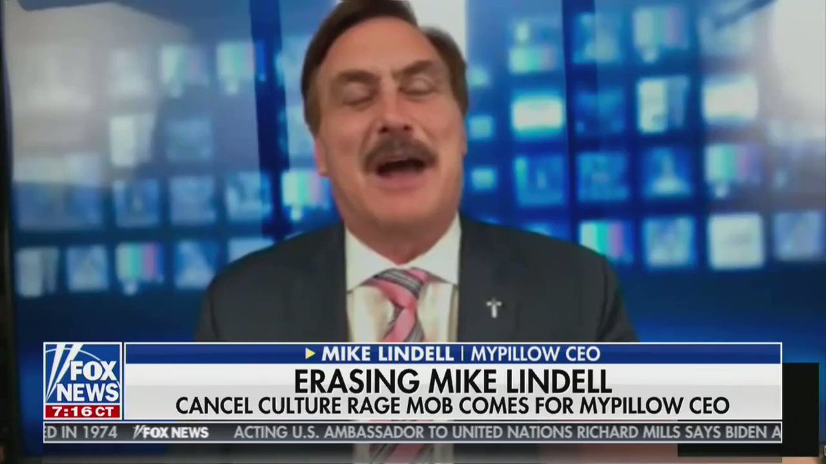 "Sooooo here's Mike Lindell on Tucker Carlson's show saying Dominion ""hired hit groups and bots and trolls and went after all my vendors and box stores to cancel me out."""