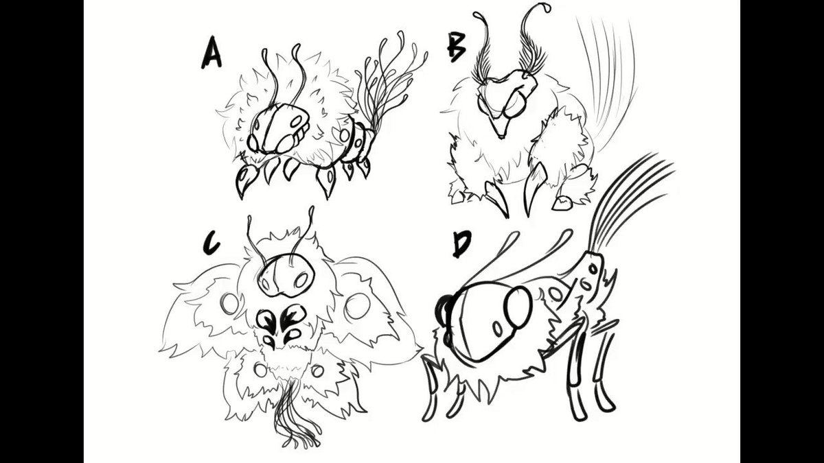 wanted to show my process in terms of sketching. you choose one from the 4, and or take some aspects from each of them to improve 1 of the insects  #bug #art #characterdesign #creaturedesign #digitalart #mashup #fuzzy #cute