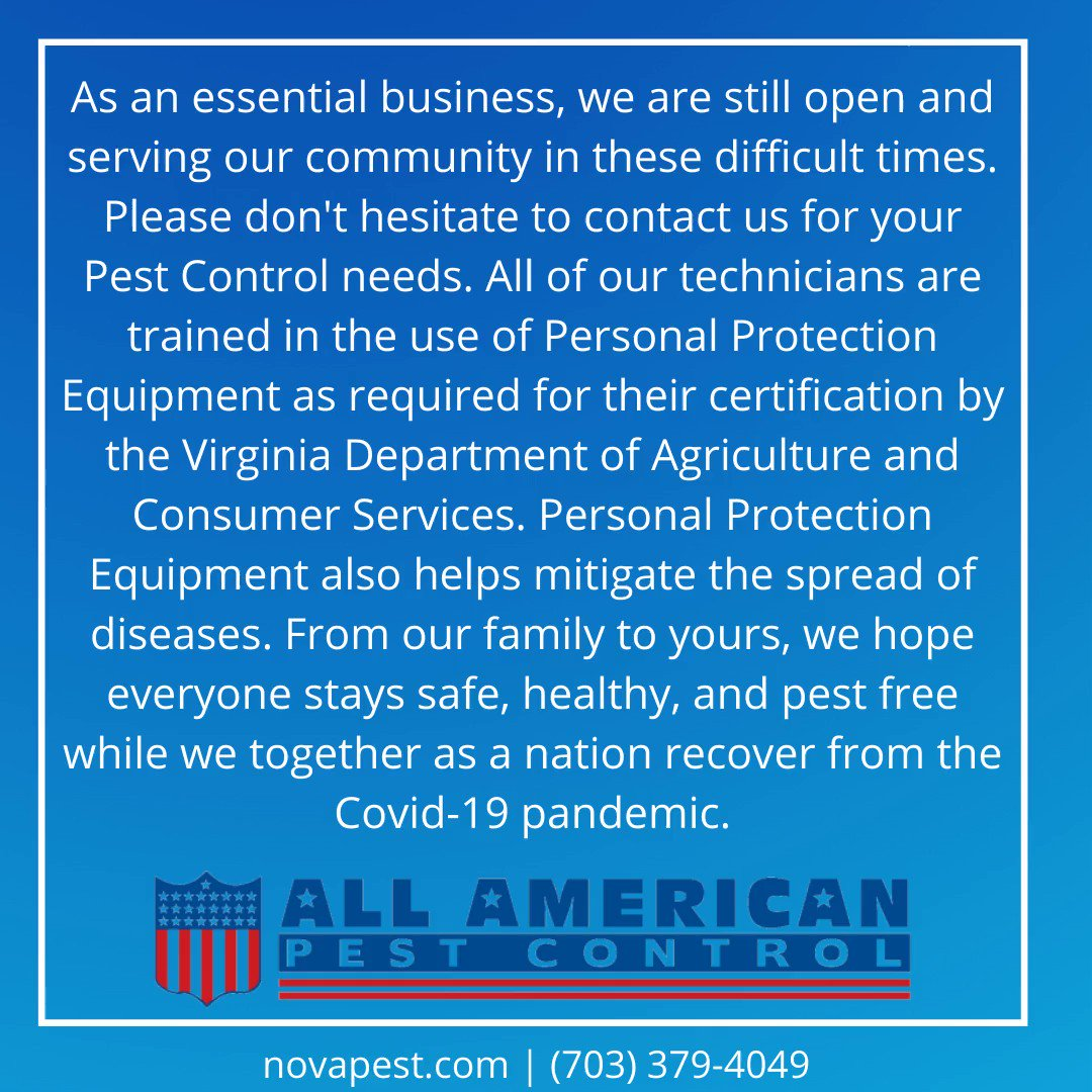 As an essential business, we are still open & serving our community in these difficult times.   #Covid19 #Coronavirus #PPE #VDACS #pandemic #familybusiness #smallbusiness #pestcontrol #pestservices #Pest #novapest