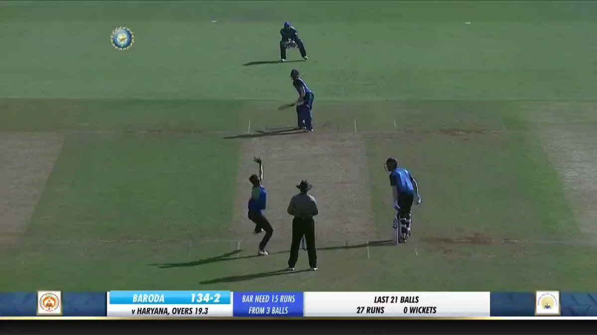 A thrilling win at #Motera for #Baroda. In last 3balls, Vishnu Solanki scored 16runs to help Baroda beat Haryana & reach #SyedMushtaqAliT20 semifinals. #HARvBDA @BCCI @BCCIdomestic @GCAMotera @cricbaroda @haryanacricket @hardikpandya7 @krunalpandya24 @IrfanPathan @iamyusufpathan