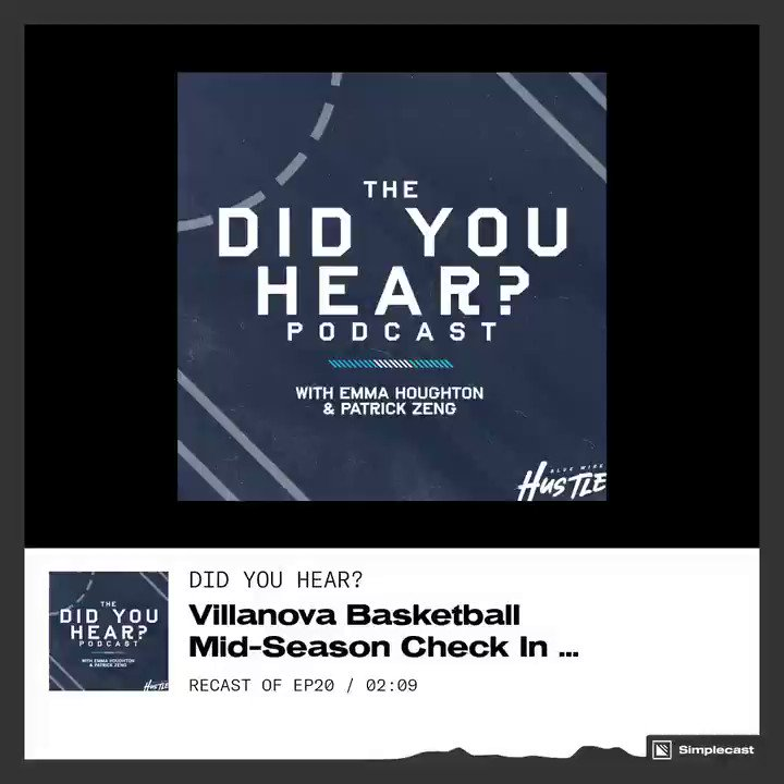 A new @DidYouHearPod from @BlueWireHustle is now live on iTunes and Spotify as we conduct a mid-season check in with @NovaMBB!   🏀 What has stood out so far?  🚨 Concerns   🗓 What to look forward to #NovaNation   🍎