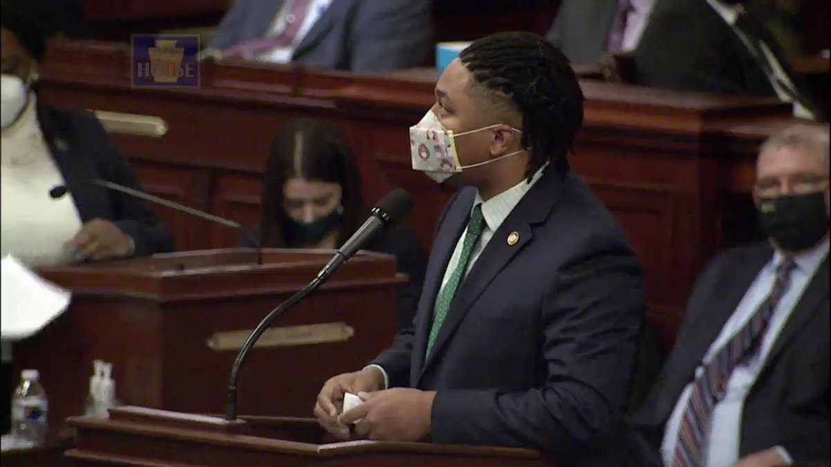 and @RepKenyatta brings the 🔥🔥 when he asks how the people of PA can trust the legislature who he notes -- as was noted yesterday -- can't be bothered to wear masks during a pandemic