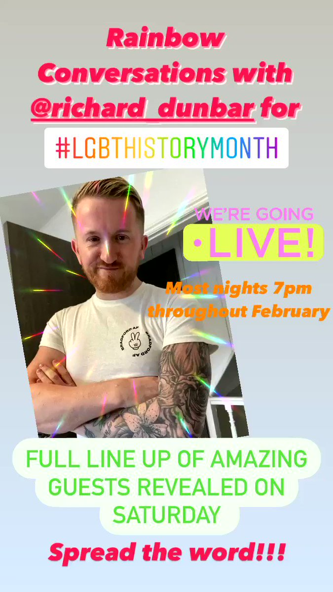 For #LGBTHistorymonth in #bradford I will be hosting a series of #instalive sessions speaking to an inspiring group of individuals about their stories, queer culture and the challenges facing the lgbtq+ community   Follow me on #instagram richard_dunbar to see full list of guests