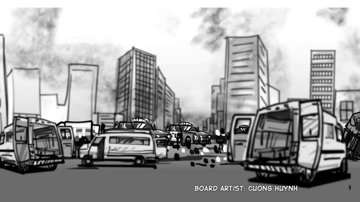 Rough cut of Frames 42-43-44: Sweeping view of the aftermath. #animatics #makingmovie #makingfilm #moviemaking #storyboard #artist #storyboarding #storyboards #drawing #drawings #films #filmdirector #director #filmcrew #filmmaking #filmmaker #preproduction #filmproduction
