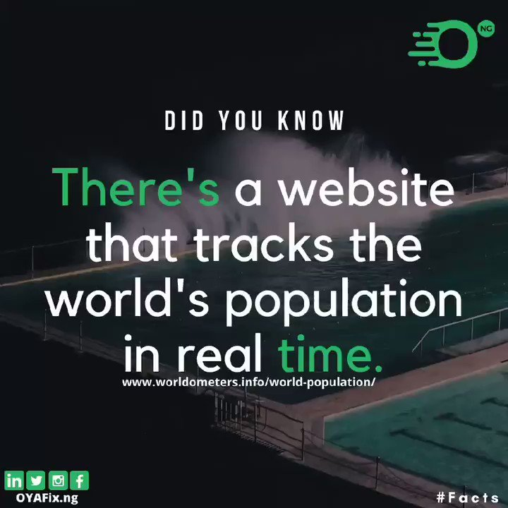 Get your facts right. Know the exact world population & how it's adding up.  Follow us for more. . . . . . . #thursday #tgit #tacha #dyk #throwbackthursday #GhanaWelcomesNengi  #StarGirlEricaXKukuHair  #itemregistryDotCom  #thursdaymorning