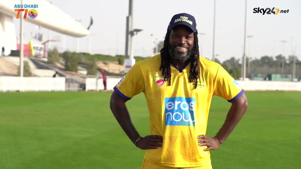 Universe Boss @ChrisGayle is pleased to have us on board in the Abu Dhabi T10 League.  #AbuDhabi #T10League #Cricket