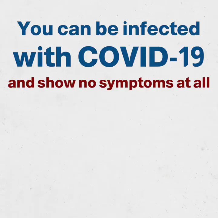 Not everyone without symptoms is #COVID19 free!   Some people infected with the virus do not develop symptoms at all, but that does not mean you cannot contract it from them!   #TimeToAbide #StopCOVIDNow